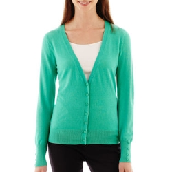 Essential Long-Sleeve V-Neck Cardigan Sweater by Worthington in Max