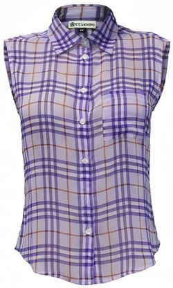 Plaid Sleeveless Shirt by Attuendo in Scream Queens