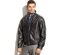 Smooth Leather Bomber Jacket by Perry Ellis in Top Five