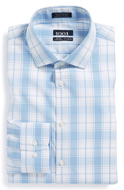 Extra Trim Fit Non-Iron Plaid Dress Shirt by 1901 in No Strings Attached