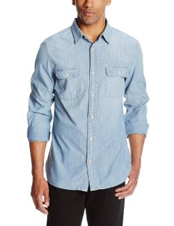 Men's Denim Long-Sleeve Work Shirt by Surfside Supply Company in The Purge: Anarchy