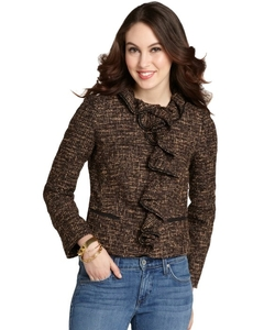 Brown Wool Blend Tweed Ruffle Front Jacket by Red Valentino in Suits