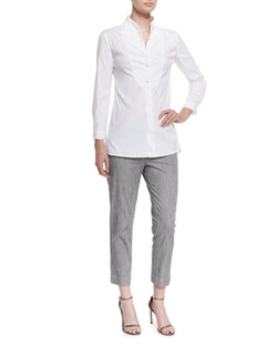 Long-Sleeve Button-Front Poplin Blouse by Armani Collezioni in Suits