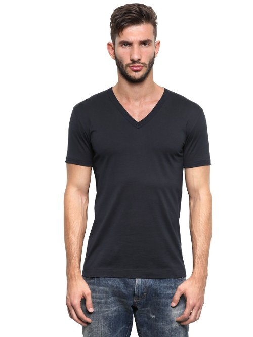 Cotton Jersey V Neck T-Shirt by Dolce & Gabbana in Furious 7