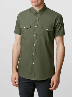 Khaki Double Pocket Poplin Short Sleeve Casual Shirt by Topman in Pretty Little Liars