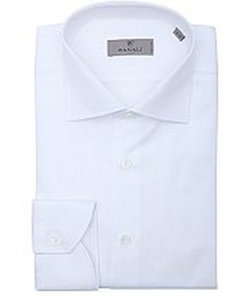 White Slub Cotton Spread Collar Dress Shirt by Canali in Suits - Season 5 Episode 1