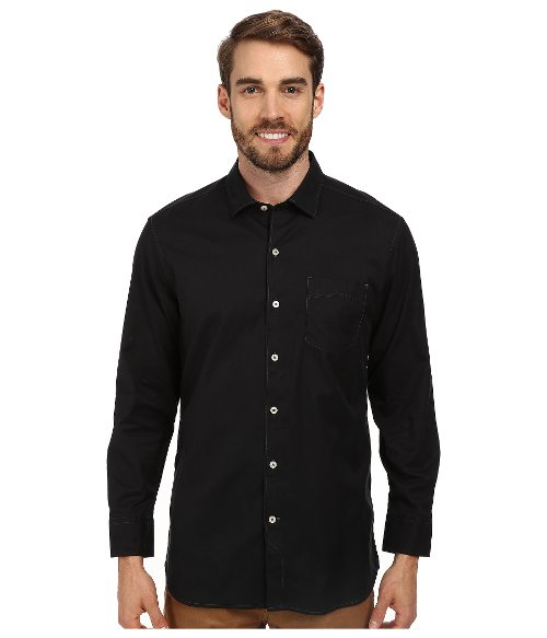 Island Twill Long Sleeve Button Up Shirt by Tommy Bahama in Blackhat