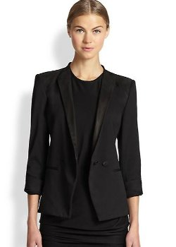 Smoking Wool & Leather Blazer by Helmut Lang in Spy