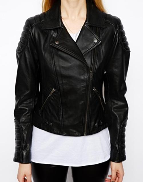 Leather Jacket with Biker Panel Detail by ASOS in Walk of Shame