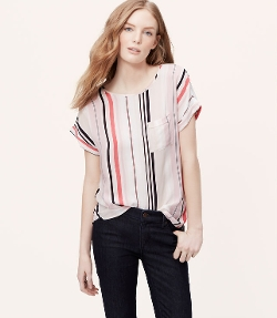 Petite Striped Pocket Blouse by Loft in Mean Girls