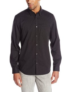 Dobby Textured Stripe Button-Front Shirt by Calvin Klein in San Andreas