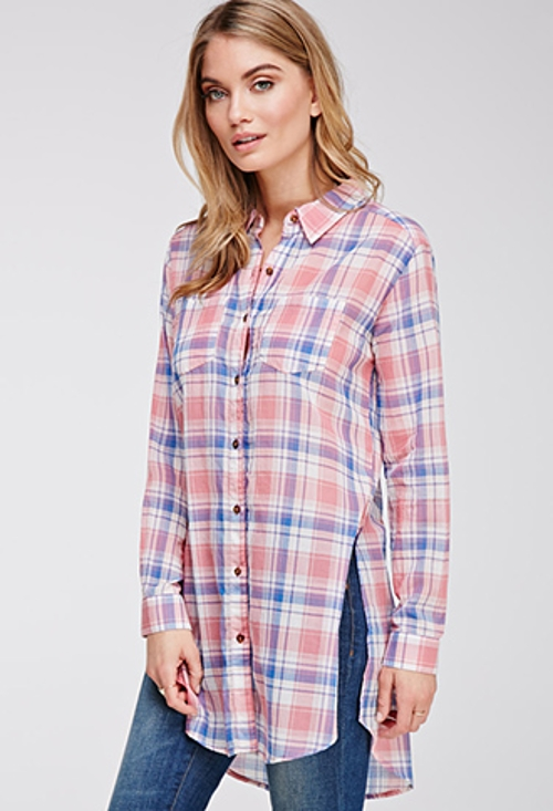 Tartan Plaid Longline Shirt by Forever 21 in Sinister 2