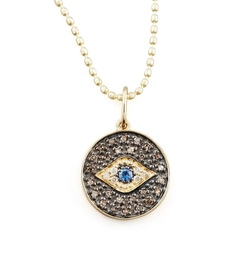 Small Diamond Evil Eye Medallion Necklace by Sydney Evan in Fuller House