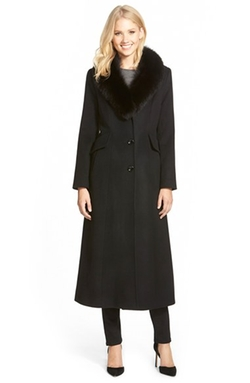 Genuine Fox Fur Shawl Collar Coat by Sachi in The Good Wife