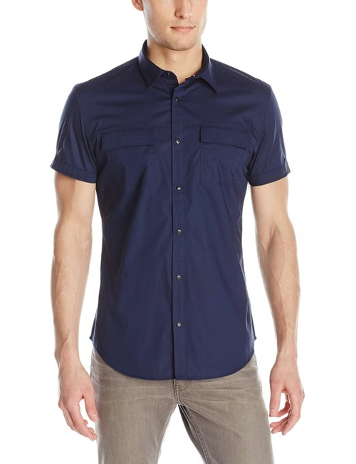 Solid Stretch Short Sleeve Woven Shirt by Calvin Klein in Love & Mercy