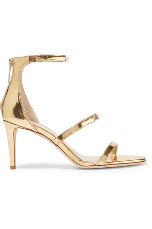 Horizon PVC Trimmed Metallic Leather Sandals by Tamara Mellon in Mistresses - Season 4 Preview