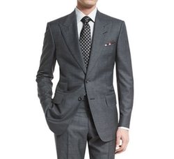 Windsor Base Peak-Lapel Irregular-Check Suit by Tom Ford in Suits