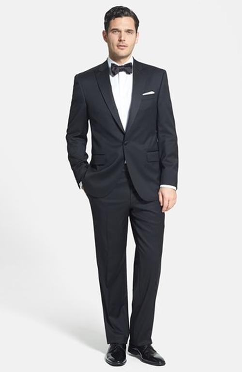 Classic Fit Loro Piana Wool Peak Lapel Tuxedo by David Donahue in Rocky IV