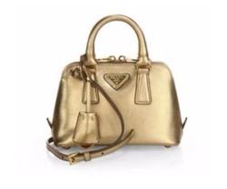 Saffiano Lux Mini Promenade Bag by Prada in Empire