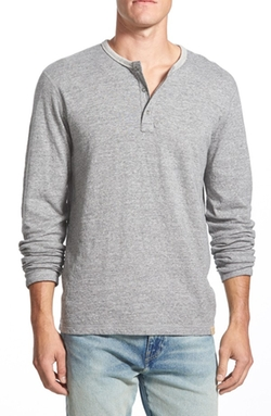 Duofold Double Faced Knit Long Sleeve Henley Shirt by Lucky Brand in Krampus