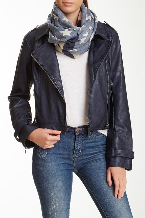 Faux Leather Motor Jacket by BNCI by Blanc Noir in Arrow - Season 4 Episode 9