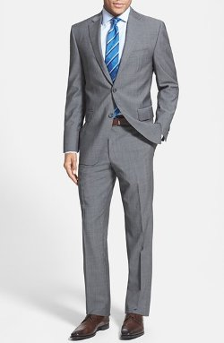 Classic Fit Grey Wool Suit by Peter Millar in Crazy, Stupid, Love.