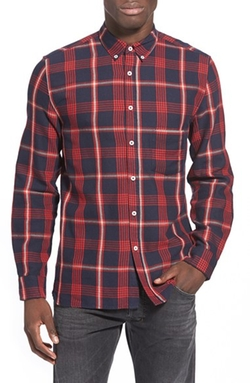 'Septum' Trim Fit Plaid Twill Woven Shirt by Barney Cools in How To Be Single