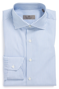 Regular Fit Stripe Dress Shirt by Canali in Valentine's Day