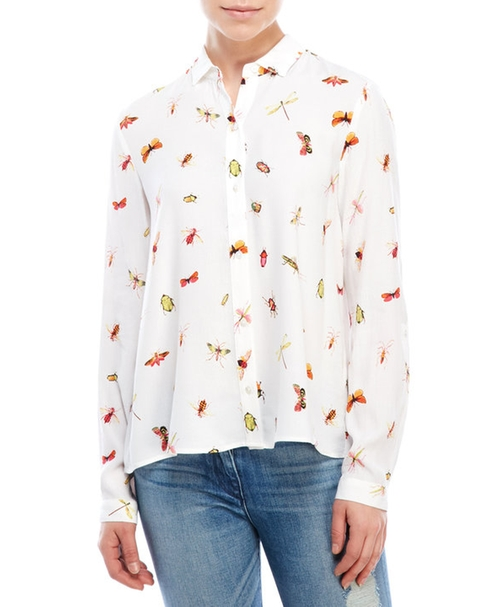 Insect Print Roll-Sleeve Shirt by Philosophy in Me Before You