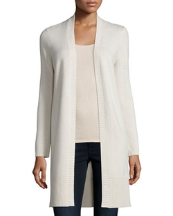 Long Rib-Trimmed Open-Front Cashmere Cardigan by Neiman Marcus Cashmere Collection in Keeping Up With The Kardashians