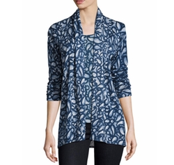 Paisley-Print Cashmere Open Cardigan by Neiman Marcus Cashmere Collection in Beauty and the Beast