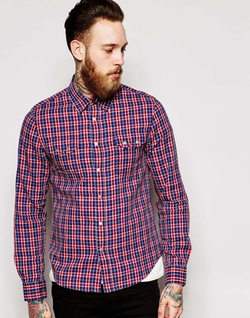 Indigo Dobby Check Shirt by Nudie in A Walk in the Woods