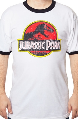 Jurassic Park Ringer T-Shirt by 80sTees.com in Jurassic World