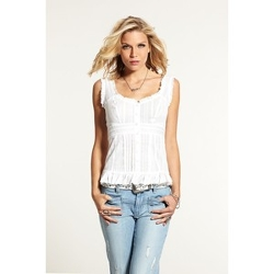 Guess White Cap-Sleeve Ruffled Pintuck Blouse Top by Pretentious Guess Girls in The Best of Me