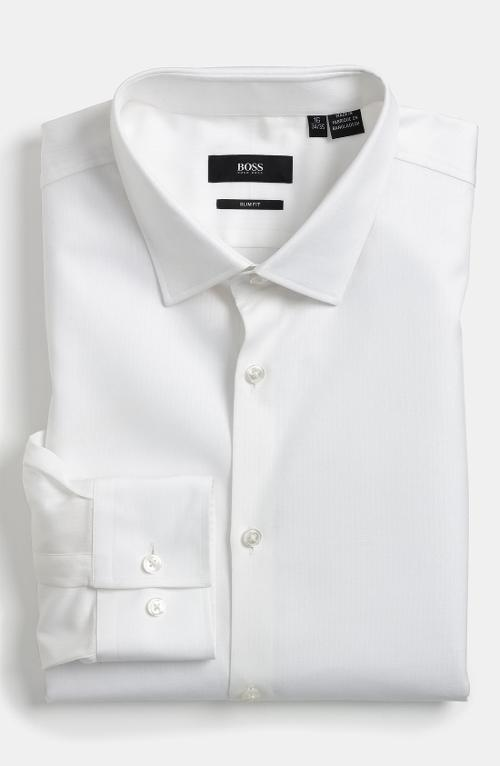 Jenno Slim Fit Herringbone Dress Shirt by Hugo Boss in Let's Be Cops