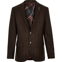 Wool-Blend Check Blazer by River Island in Modern Family