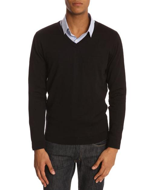 Classic V-Neck Black Sweater by MENLOOK LABEL in Jersey Boys