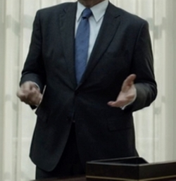 Custom Made Notch Lapel Suit by Hugo Boss in House of Cards
