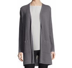 Washable Wool Ribbed Long Cardigan by Eileen Fisher in Rosewood