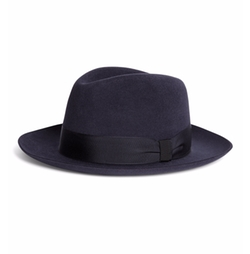 Prague Navy Fedora Hat by Lock And Co. in Empire