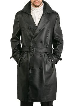 Men's Classic Leather Long Trench Coat by BGSD in Frank Miller's Sin City: A Dame To Kill For