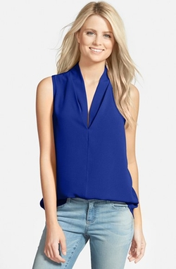 Layered V-Neck Sleeveless Blouse by Pleione in Jessica Jones