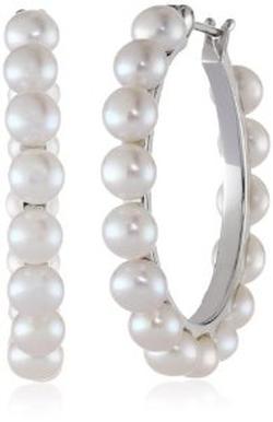 Pearl Hoop Earrings by Honora in Scream Queens