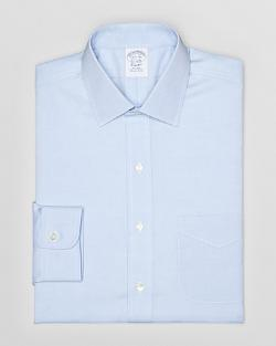 Solid Pinpoint Dress Shirt by Brooks Brothers in Unbroken