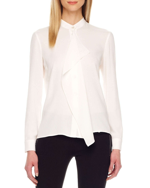 Drape-Front Silk Blouse by Vince in The Town