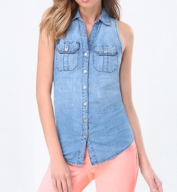 Denim Sleeveless Shirt by Bebe in The Bachelorette