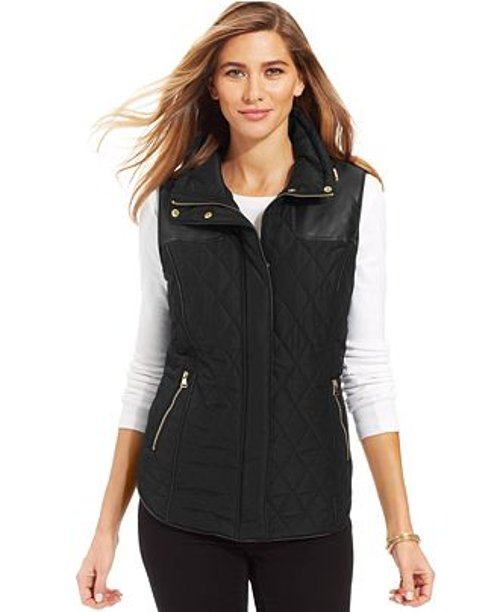Sport Faux-Leather Quilted Puffer Vest by Style & Co. in Blackhat