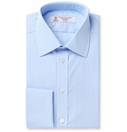 Blue Double-Cuff Cotton Shirt by Turnbull & Asser in Survivor