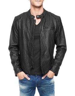 Black Racer Mens Leather Jacket by True Religion in The Loft