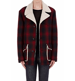 Faux-Shearling-lined Plaid Coat by Saint Laurent in Empire